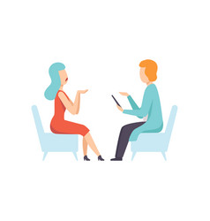 psychologist counseling woman with psychological vector image