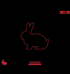 rabbit silhouette outline vector image