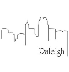 raleigh city one line drawing vector image