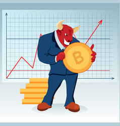 red bull character increase price bitcoin trade vector image