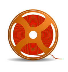 Red wire coil icon realistic style vector
