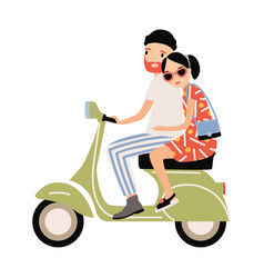 romantic couple dressed in trendy clothes riding vector image
