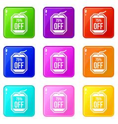 Sale tag 75 percent off set 9 vector