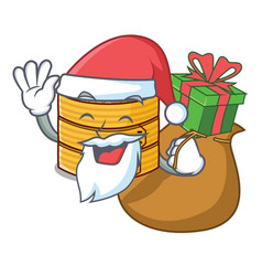 Santa with gift wooden steamed food container on vector