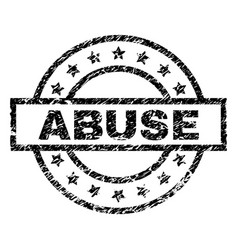 Scratched textured abuse stamp seal vector