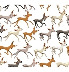 Seamless pattern with galloping deers White vector image