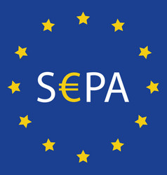 sepa - single euro payments area sign isolated on vector image