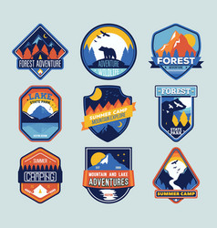 set of badges with mountain peaks and forest camp vector image