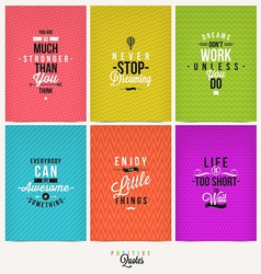 Set of Positive Quote Typographical Background vector