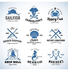 Set of Vintage Nautical and Marine Labels vector image