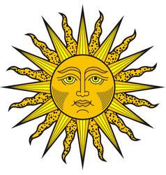 shining sun face heraldic symol vector image