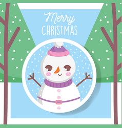 snowman with hat trees snow merry christmas tag vector image
