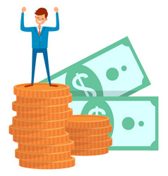 successful investor businessman standing on money vector image