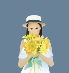 sunflower rectangular portrait women vector image