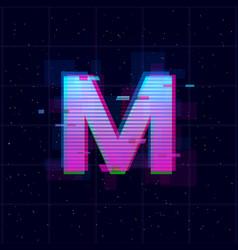 Synthwave vaporwave retrowave m letterretrowave vector