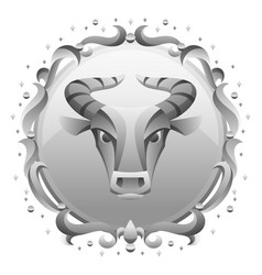 taurus zodiac sign with silver frame horoscope vector image