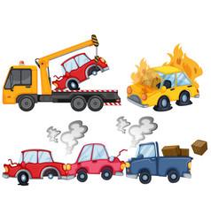 Three isolated car crash scenes vector