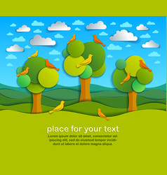 Three trees with birds in the field scenic nature vector