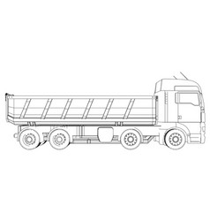Tipper dump truck isolated tracing vector