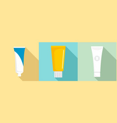 toothpaste icon set flat style vector image