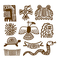 Tribal indian patterns or mexican symbols vector