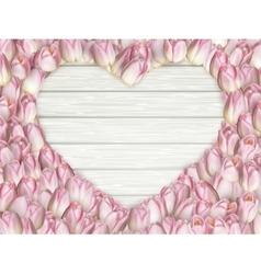 Tulips heart shape frame EPS 10 vector image