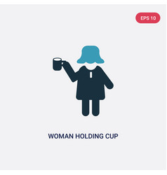 two color woman holding cup icon from people vector image