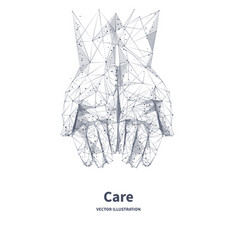 Two hands top view care concept vector