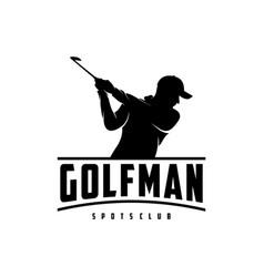 vintage golfer silhouette logo design vector image