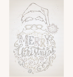 vintage merry christmas lettering vector image