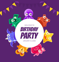 Welcome birthday party banner template invitation vector