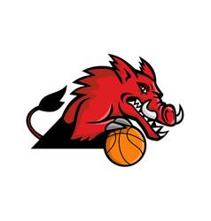 wild boar basketball mascot vector image