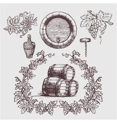Wine and winemaking vintage set vector
