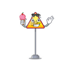 With ice cream no cycling character shaped a vector