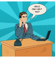 working man speaking on phone at office vector image