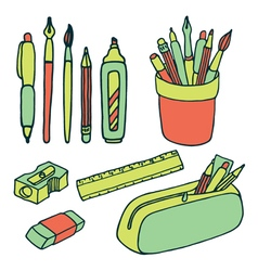 Brushes pencils pens ruler sharpener eraser icjns vector