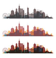 Chicago illinois skyline city colorfull silhouette vector