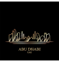 Gold silhouette of Abu Dhabi on black background vector image vector image
