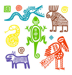 mexican culture primitive tribal signs vector image