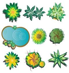 plants top view set 1 vector image