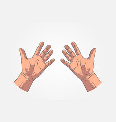 realistic sketch hands - gestures hand-drawn vector image vector image