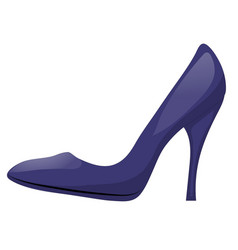 dark blue shoe with high heel isolated on white vector image vector image