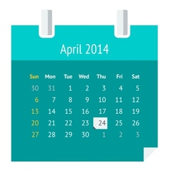Flat calendar page for April 2014 vector image vector image