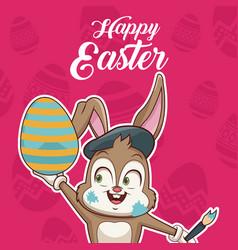happy easter card cartoon vector image