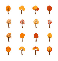 set of autumn trees vector image vector image