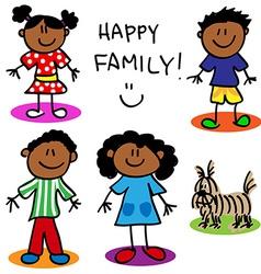 Stick figure black family vector image