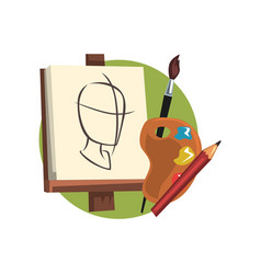 symbols of the artist profession artists supplies vector image vector image