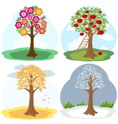 Tree four seasons vector image