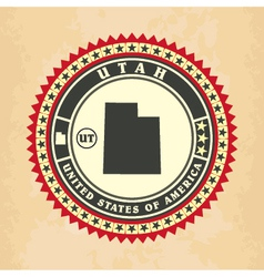 Vintage label-sticker cards of Utah vector image vector image