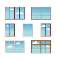 a set of window frames in different colors vector image vector image